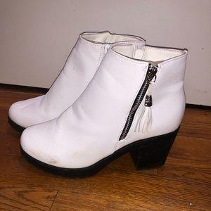 white tassel booties with chunky heel